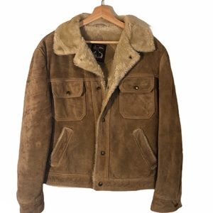 Vintage Grande Bay Brown Leather Sherpa Jacket
